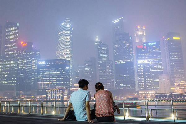 Singapur duman altında