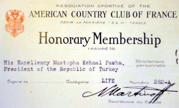 Atatürk o kulübe üye olmuş!