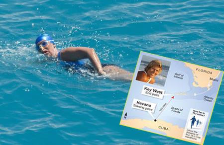 64 yaşında Floridadan Kübaya yüzdü