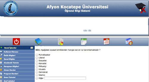 Kocatepe Üniversitesinde fişleme anketi iddiası