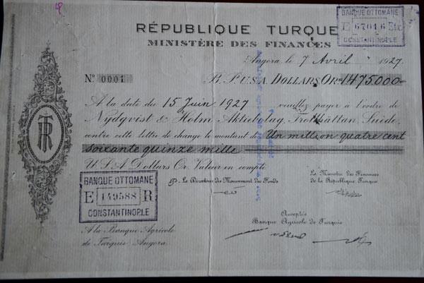 Türkiye Cumhuriyetinin ilk senedi İstanbulda