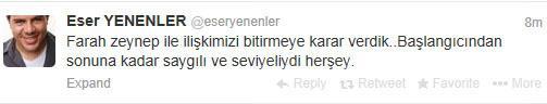 Eser Yenenler ayrılığı Twitterdan duyurdu