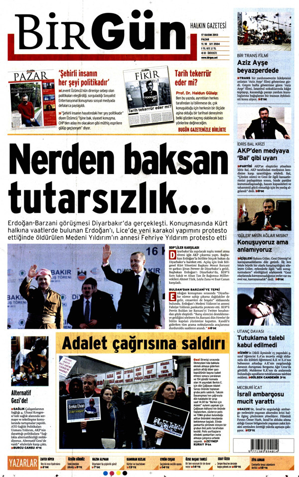 Gazetelerin Diyarbakır ve Erdoğan manşetleri