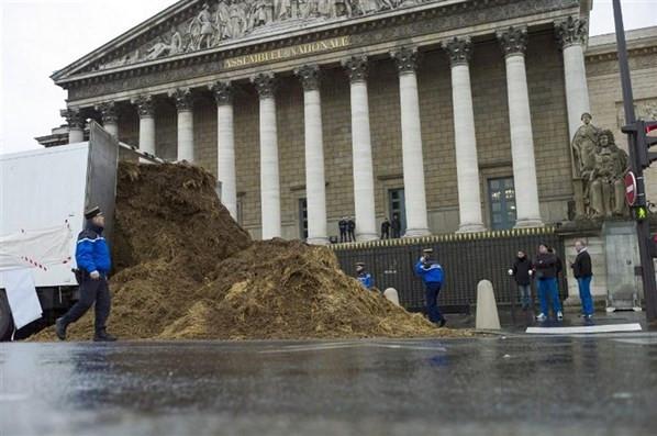 Meclis önüne bir TIR gübre döktü