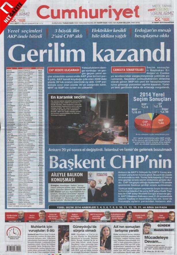 31 mart seçim manşetleri...