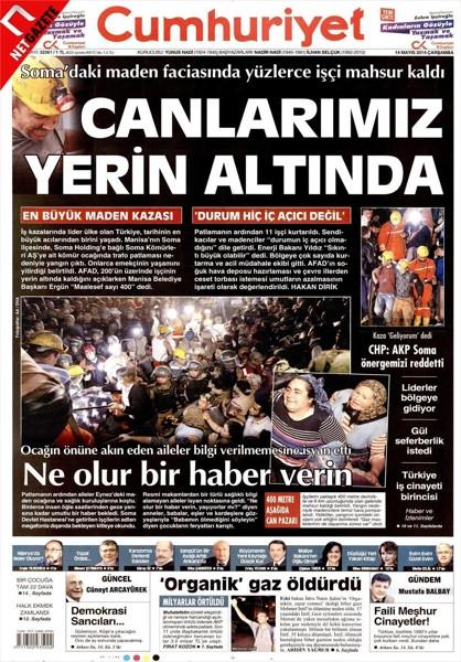 İşte gazetelerin Soma manşetleri