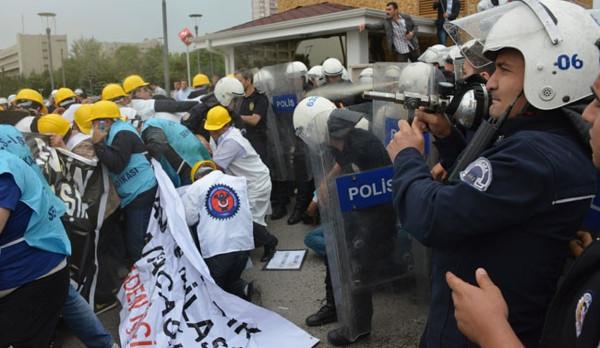 Ankara'daki işçilere müdahaleden görüntüler