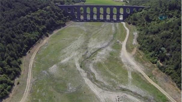 """""""SOS"""" veren Alibeyköy Barajı havadan görüntülendi"""