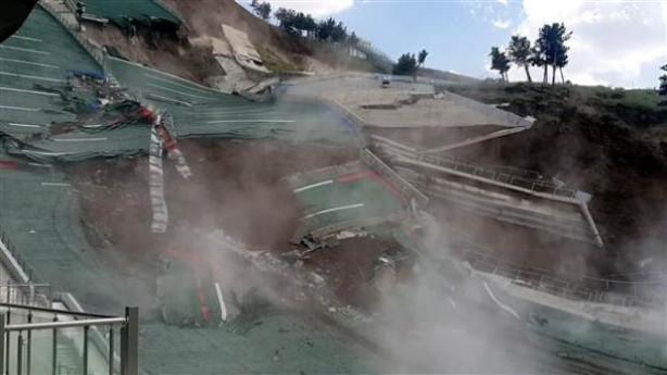 Erzurum'daki atlama kulelerinde göçük anı