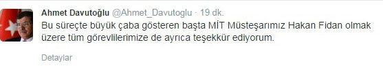 Davutoğlu twitter hesabından da açıkladı