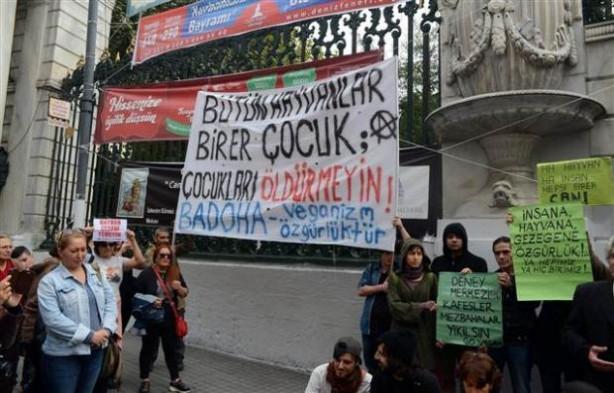 Hayvanseverlerden kurban kesimi protestosu