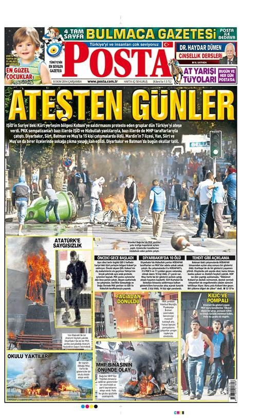 08 Ekim 2014 Çarşamba Gazete Manşetleri
