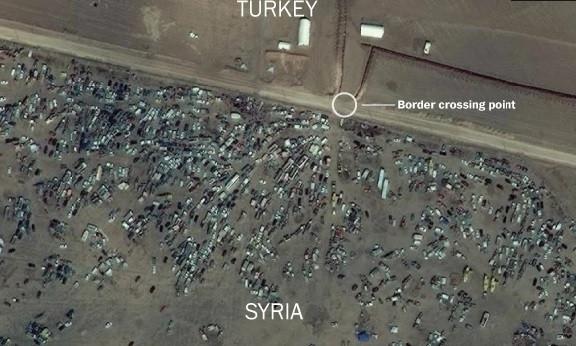 Kobani'deki yıkım uydudan görüntülendi