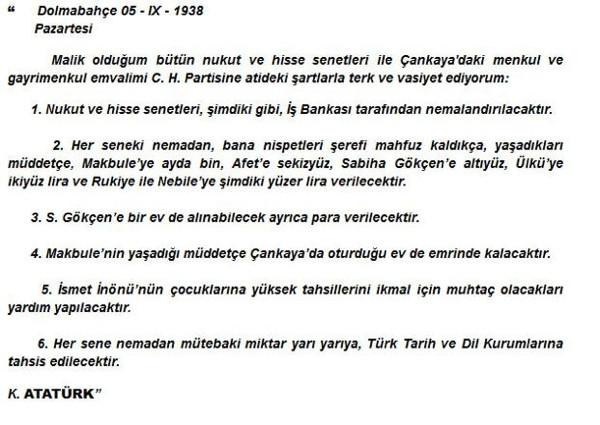 İşte Atatürk'ün vasiyeti