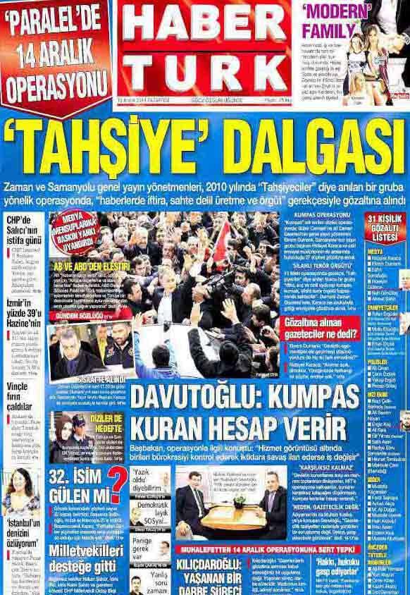 14 Aralık manşetleri