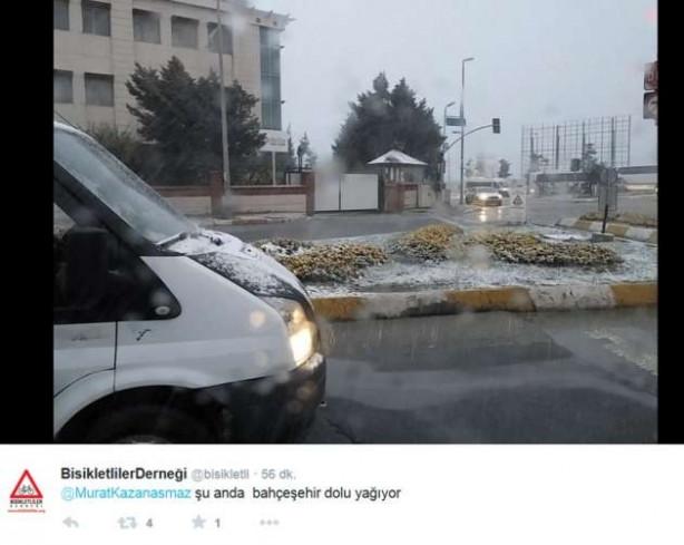 İstanbul'da hem güneş hem kar
