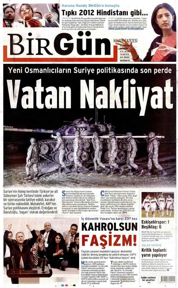 Şah Fırat operasyonunu gazeteler böyle gördü