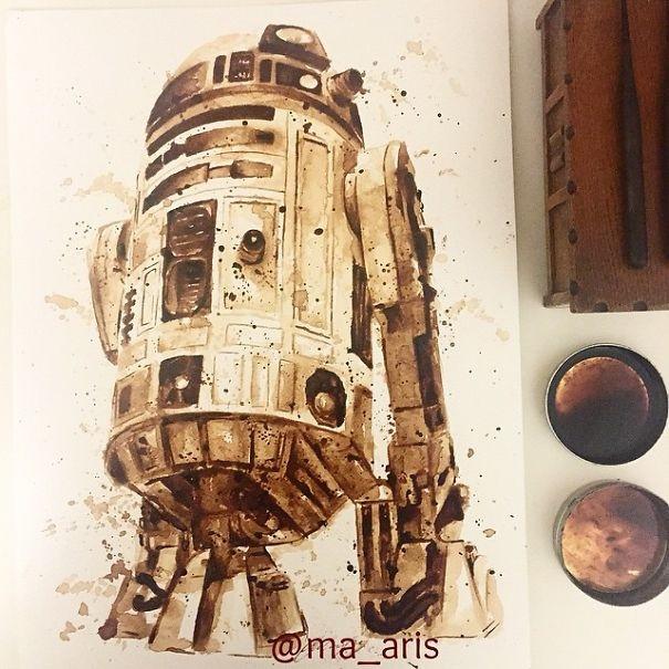 Kahve ile çizilen resimler büyülüyor