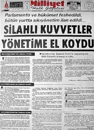 12 Eylül Darbesini gazeteler böyle duyurmuştu