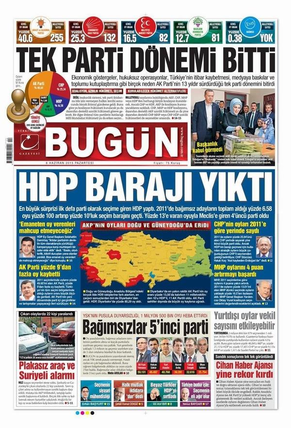 Gazetelerin seçim başlıkları