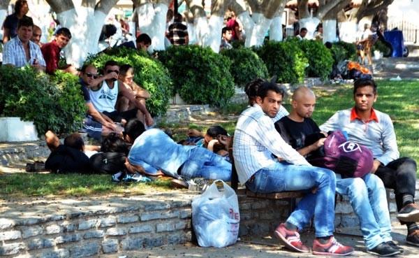 Bodrum'daki park ve bahçeler mülteci kampına döndü