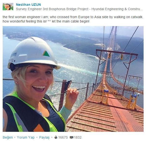 3. Köprünün kadın mühendisi Avrupa'dan Asya'ya yürüdü