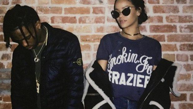 Rihanna ve rapçi Travis Scott öpüşürken görüldü