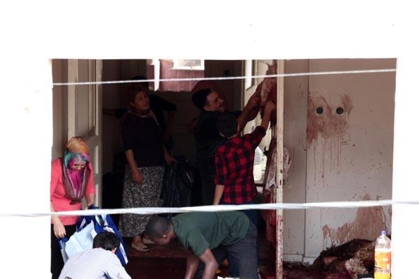 Boş binada kurban kestiler
