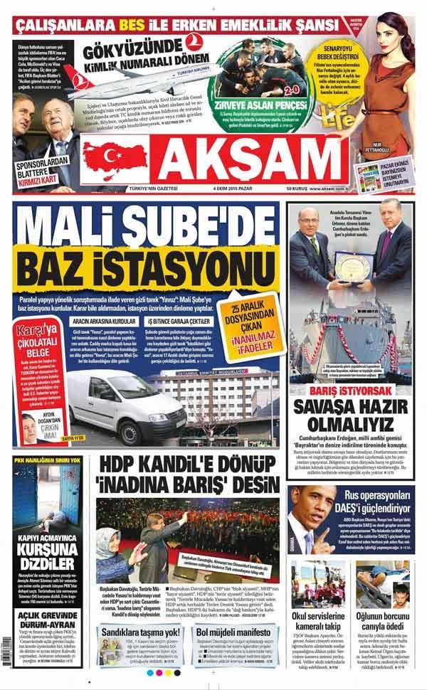 4 Ekim 2015 gazete manşetleri