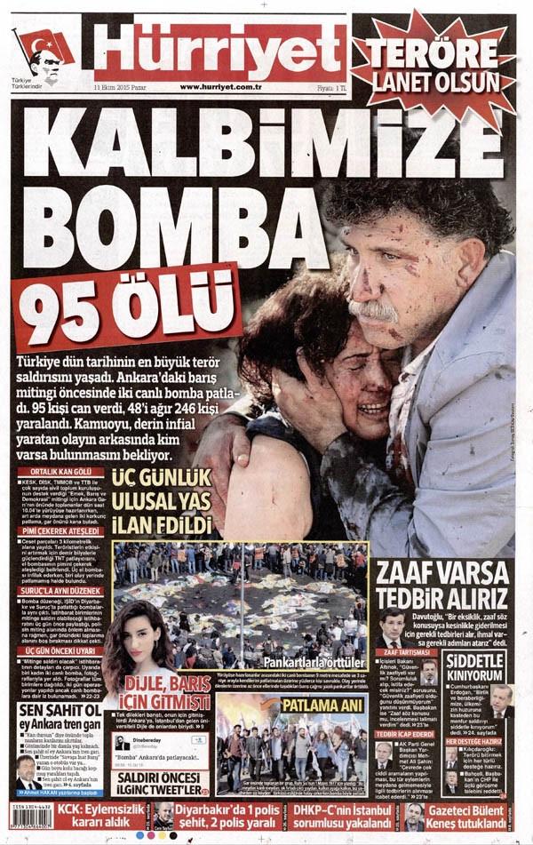 Türkiye tarihinin en büyük terör saldırısını hangi gazete nasıl gördü