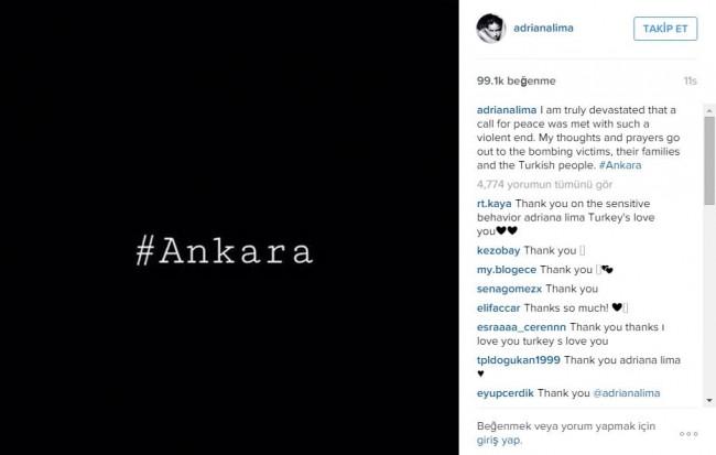 Adriana Lima'dan Ankara saldırısı paylaşımı