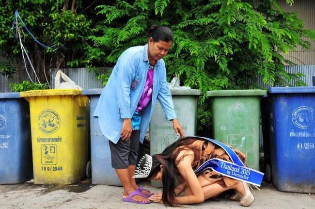 Tayland'da güzellik kraliçesi çöp toplayıcısı çıktı