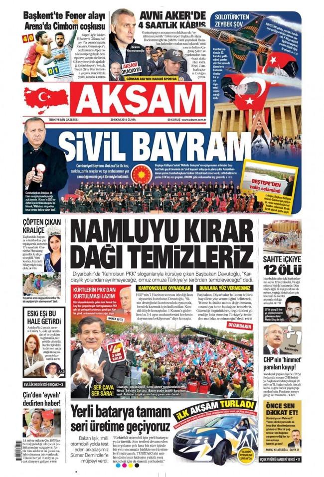 29 Ekim Gazete manşetleri