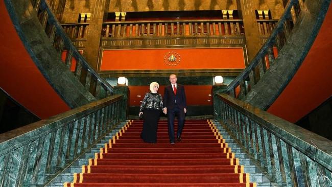Cumhurbaşkanlığı Sarayı'ndaki resepsiyondan kareler