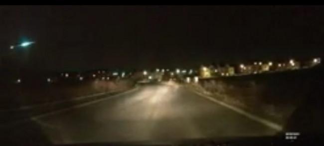 Polonya Gdansk'ta meteorun düşme anı