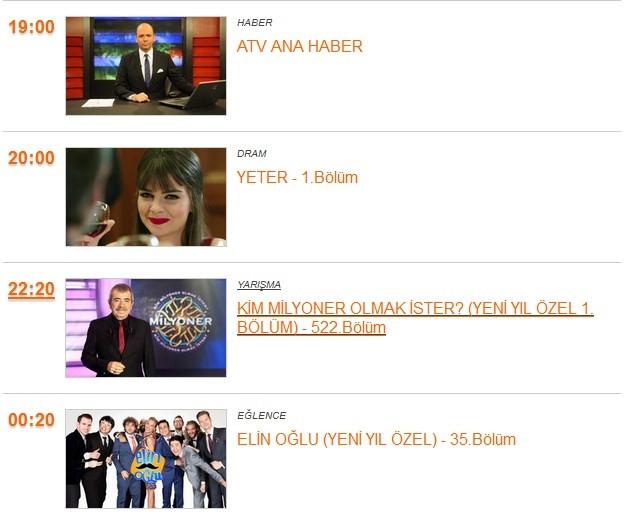 31 Aralık Yılbaşı gecesi kanalların yayın akışı şöyle