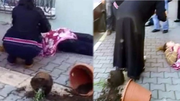 Eşine saldıran kocaya saksı fırlattılar