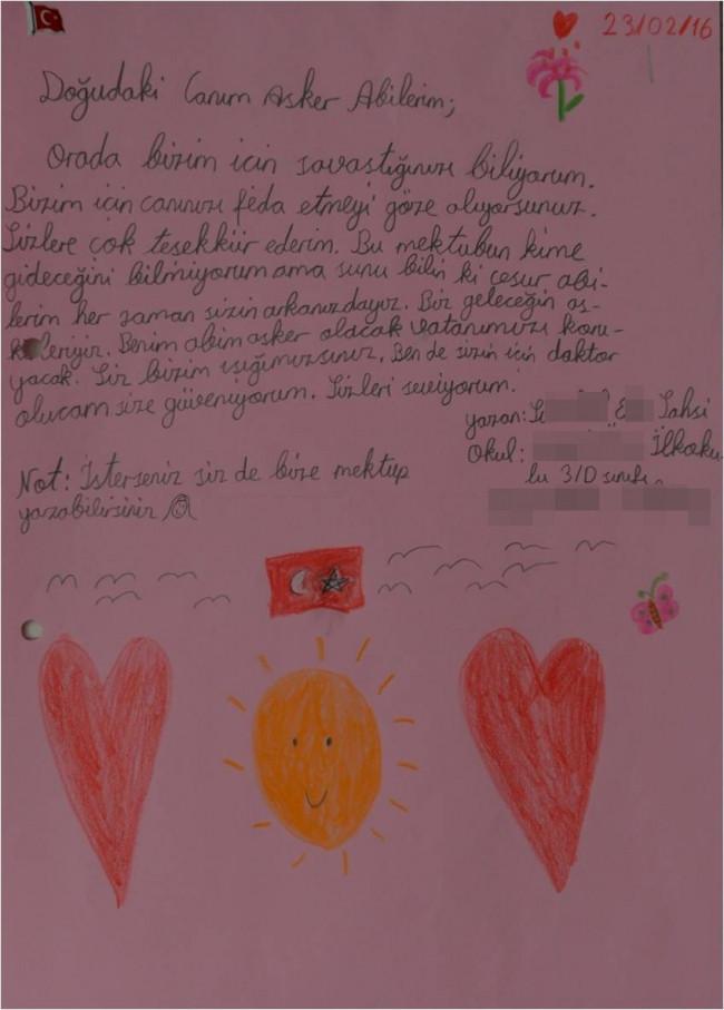 Çocuklardan askere mektup: Size dua ediyoruz...