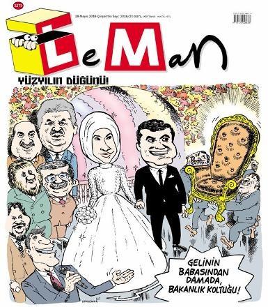 Saray düğünü karikatür dergilerinin kapaklarında