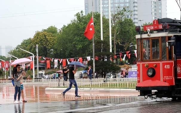 İstanbul'da yağmur bir anda bastırdı !