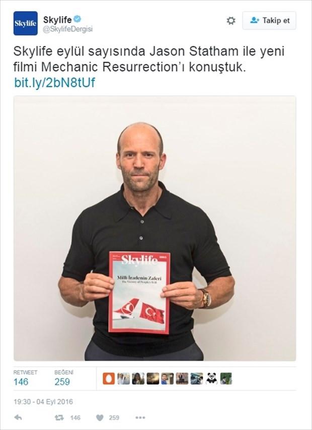 "Jason Statham'dan ""Milli İrade"" fotoğrafı"