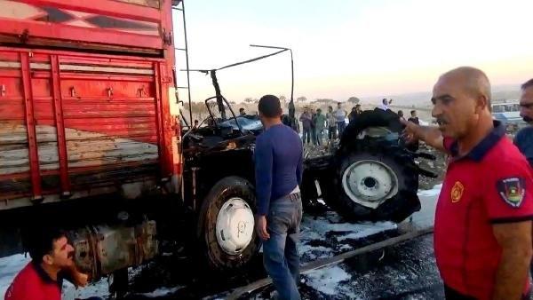 İşçileri taşıyan traktörle kamyon çarpıştı