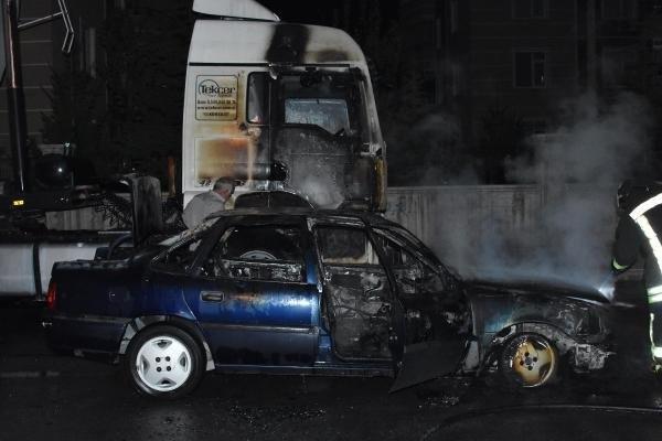 45 dakika içerisinde 5'i kundaklama 7 araç yandı