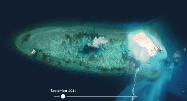 Çin'in 'yapay adası' uzaydan görüntülendi