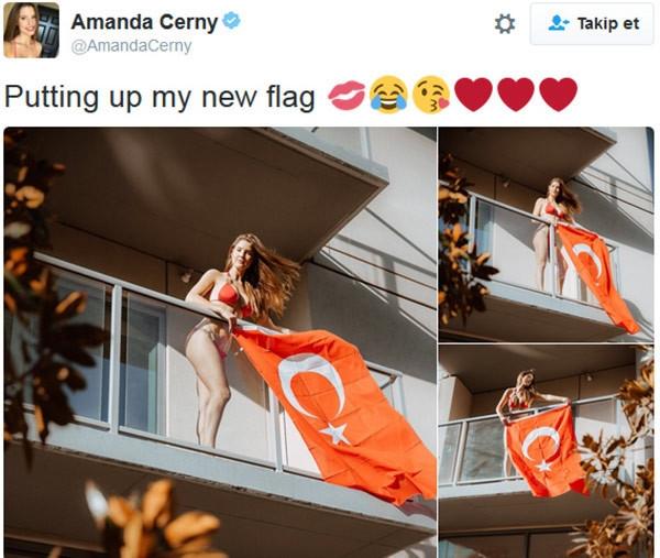 Amanda Cerny Türk bayrağı astı