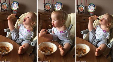 Kolları olmayan Vasilina ayaklarıyla yemek yiyor