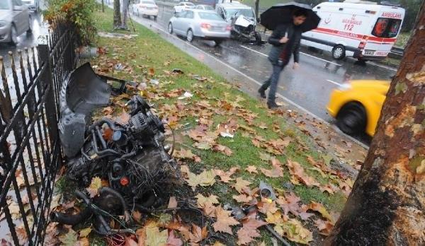 Şişli'de aracın motoru yerinden fırladı