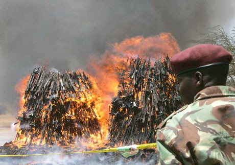 Kenyada silahlar yakıldı
