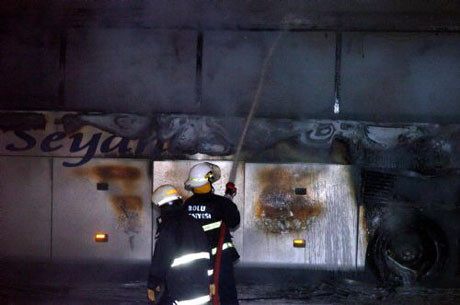Bolu Dağında otobüs yandı
