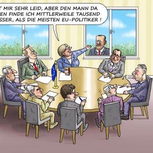 Alman karikatürist Erdoğan'ı övgüyle çizdi !